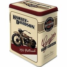 Vintage Style Retro Large Lidded Tin - Harley Davidson 750 Flathead Motorbike