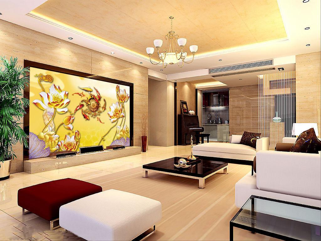 3D Golden Flower Carp 983 Wallpaper Mural Paper Wall Print Wallpaper Murals UK