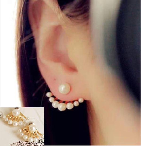 Fashion Jewelry 2pair Women Lady Elegant Fan Shape Pearl Ear Stud Earrings Gift