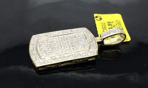 New 10K Yellow Gold  Dog Tag With 0.87 CT Pendant and Cross 0.75 CT