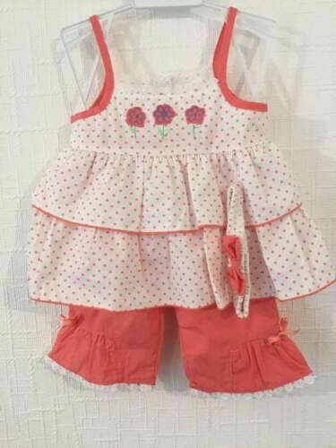 BELLISSIMO abito Bambina vestiti Set Cerchietto Pantaloni Fiori Rosso Ciliegia 3-6 M Vendita