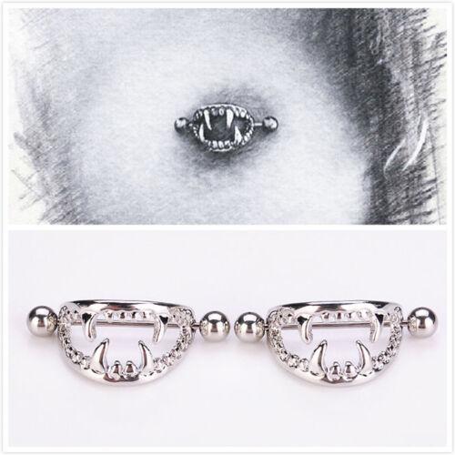 AM/_ 1 Pair Amazing Surgical Steel Love Nipple Shield Bar Ring Body Piercing Drea