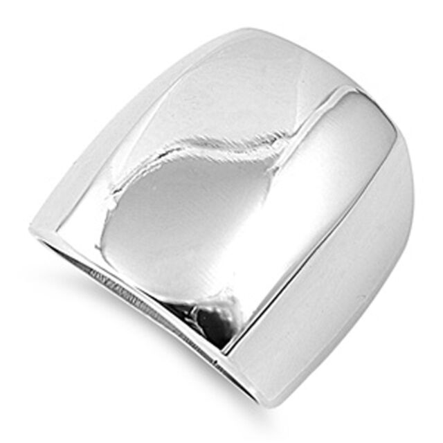Woman's Domed Ring Cute Shiny Polished Band New Rhodium Finish 23mm Sizes 6-10