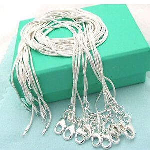 """10/20/50pcs Silver Plated 1mm Snake Chain Necklace 16"""" 18"""" 20"""" 24"""""""