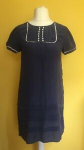 TOPSHOP-BOUTIQUE-Navy-Blue-100-Silk-Dress-Size-10-Tunic-Buttons-Smock
