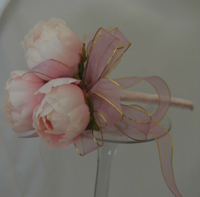 SILK PINK PEONY WEDDING PEONIES POSY LIGHT PINK FLOWER FAKE FLOWER GIRL WAND