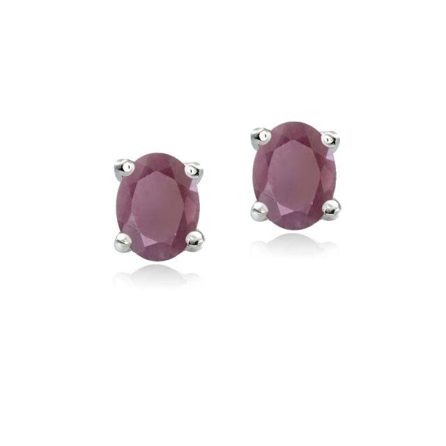 925 Sterling Silver Genuine Ruby 5x3 Oval Stud Earrings