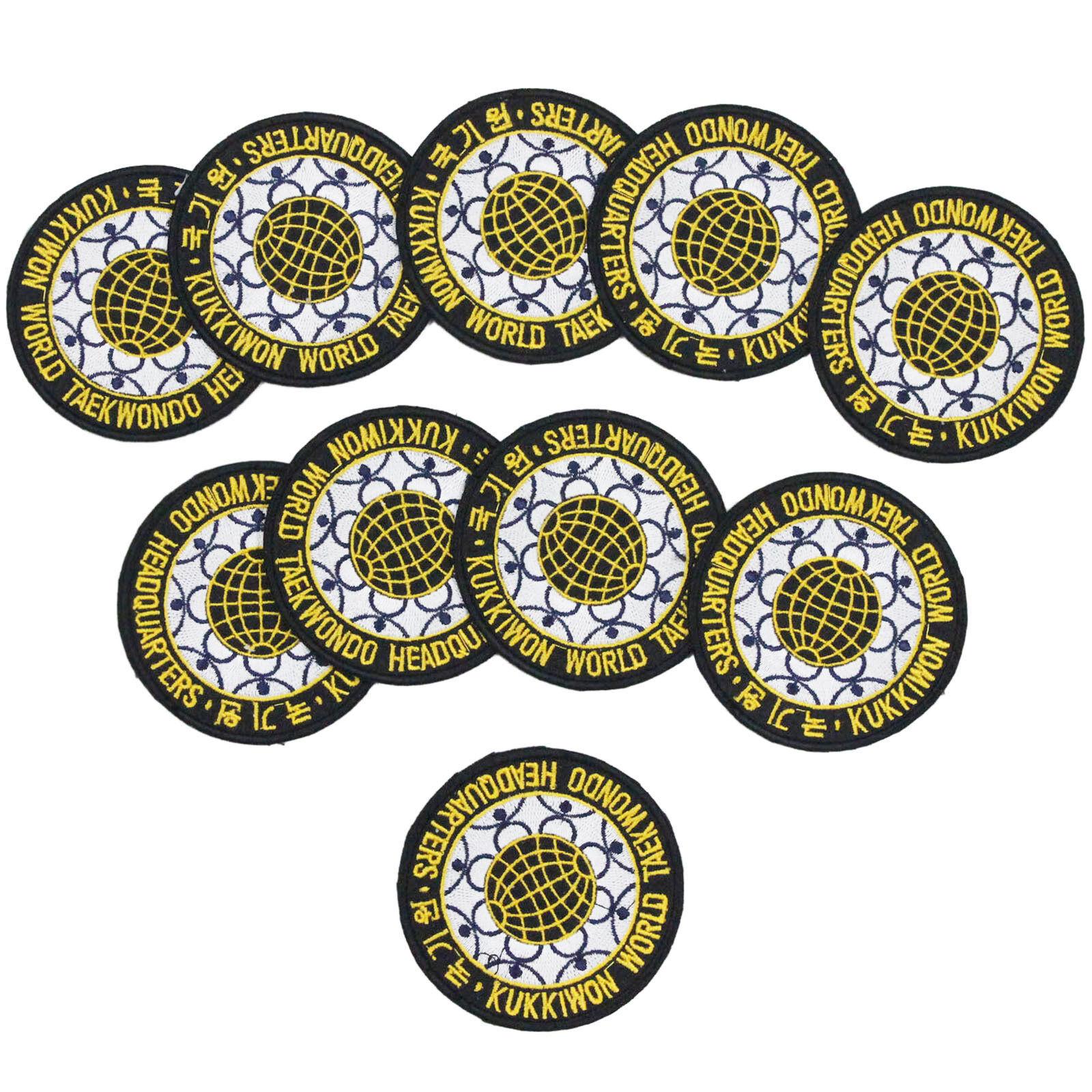 TKD Kukkiwon Badges Patches 10 pcs Set World Taekwondo Headquarter Embroider MMA