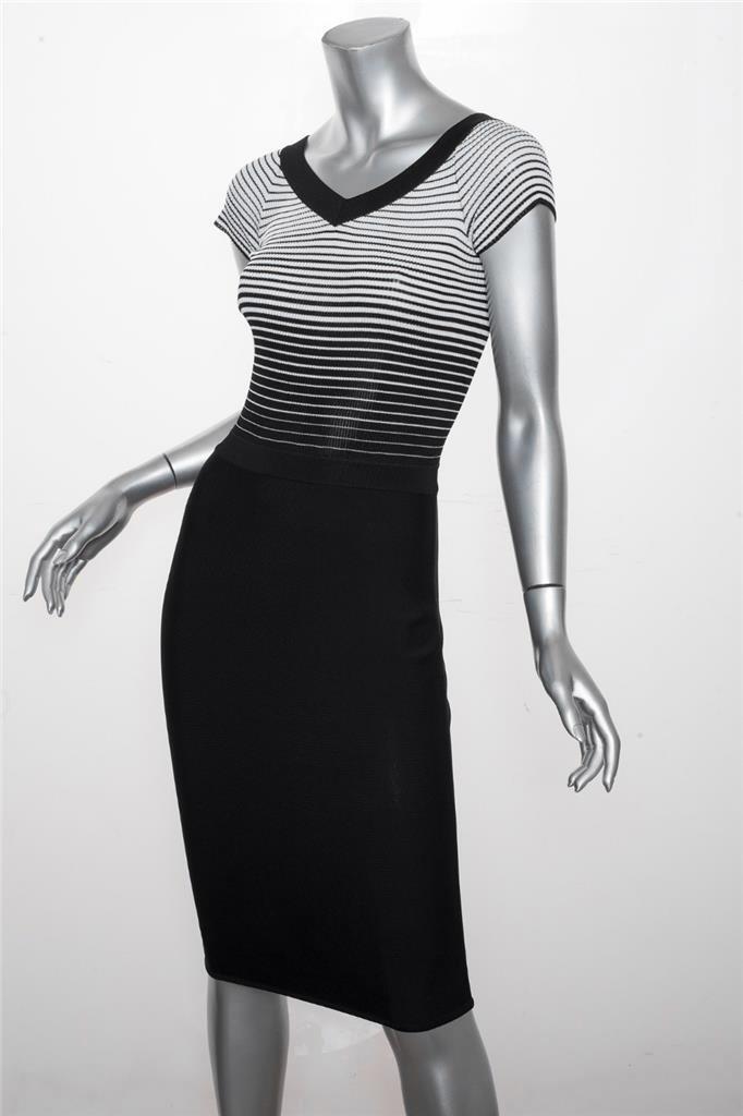 HERVE L.LEROUX Damen Klassisch Schwarz & Weiß Strick V-Ausschnitt Bodycon Kleid