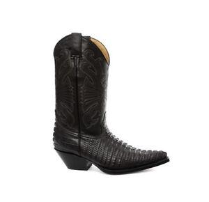 Far Nero Coccodrillo Grinders Stivali Da Cowboy West Uomo Carolina 7q4xwC0