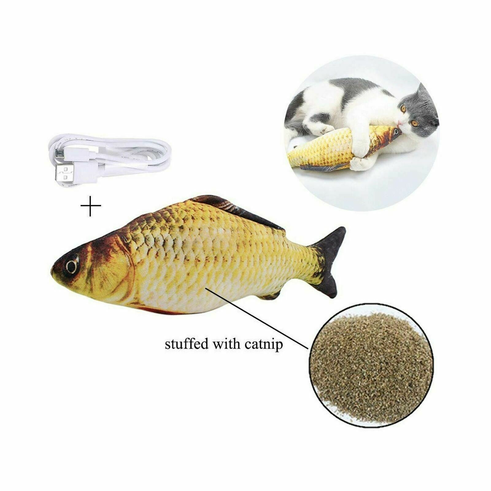 G.C Floppy Fish Cat Toy for Indoor Cats Interactive Interactive Plush Cat Toys for Kitten Cat Chew Toys Moving Catnip Toys Manual Dancing Wagging Fish with Catnip /& Bell Inside