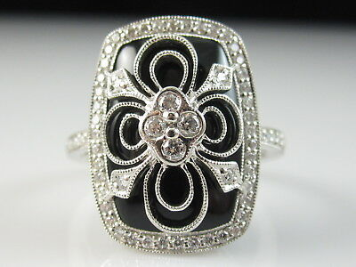 14K Black Onyx Diamond Ring White Gold Designer Signed AK Fine Jewelry Size 7