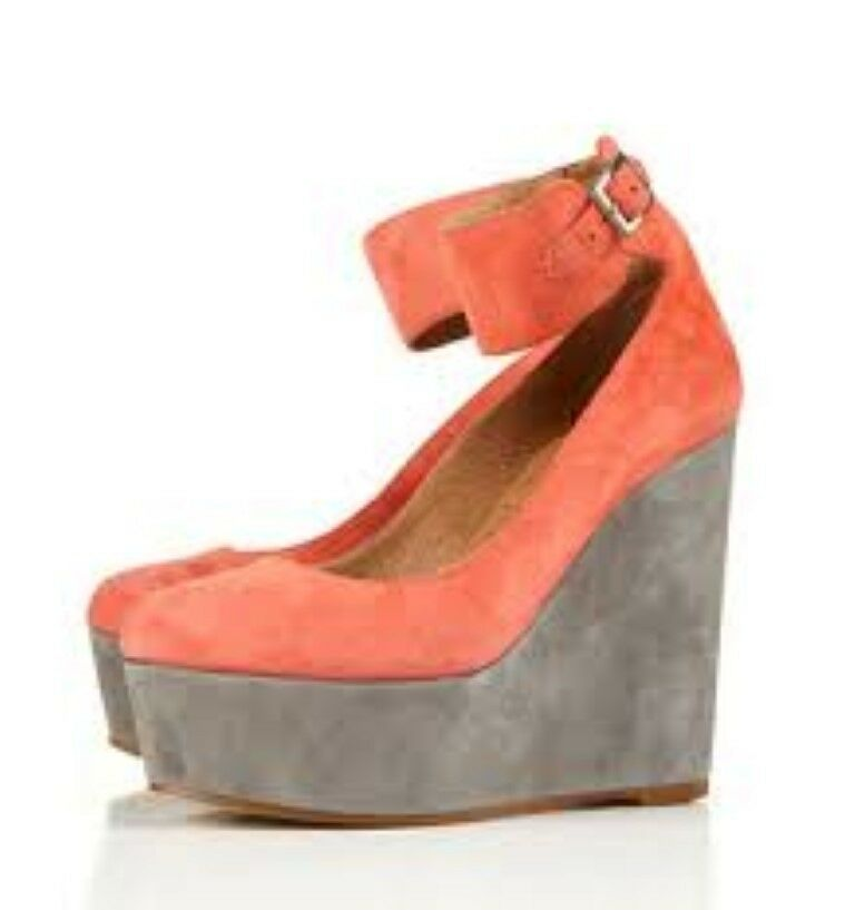 BN TOPSHOP Coral SATELLITE suede leather wedges shoes UK 6