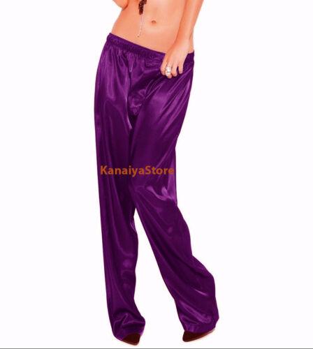 Violet Red Color Satin Unisex Lounge Sleep Pajama Pants Adult Women Sissy Maid