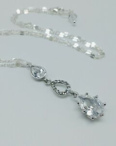 Sterling-Silver-Crystal-Drop-Pendant-Necklace