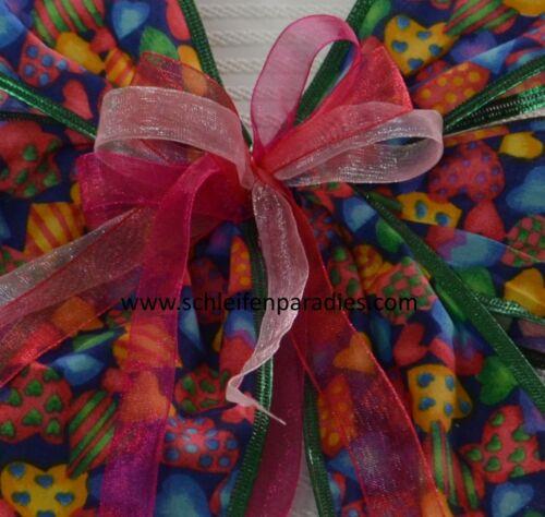 Schultütenschleife Einschulung 2 Gr Schleife bunte Herzen Geschenkschleife
