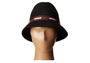 1811f850e Details about Vince Camuto Varsity Ribbon Cloche Fedora Hat Wool‑ Black  Ajustable Fit Band