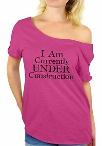 d892c94b2c344 Gym Off Shoulder Tops T shirt I Am Currently Under Construction ...