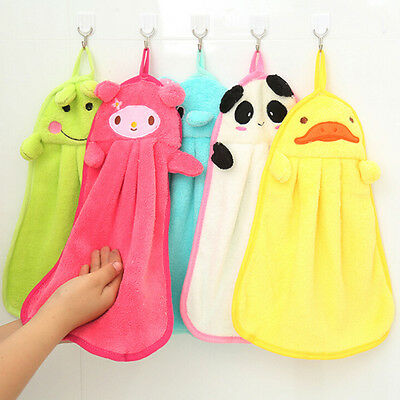 Children Nursery Hand Towel Soft Plush Cartoon Animal Hanging Wipe Bathing Towel