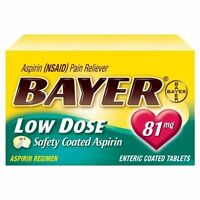 2 Pack - Bayer Low Dose Safety Coated Aspirin 81mg 32 Tablets Each on sale