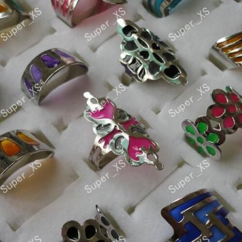 8pcs Enamel glaze stainless steel rings wholesale Jewelry fashion free shipping