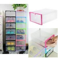 Transparent Plastic Stackable Shoe Box Case Home Storage Container Organizer
