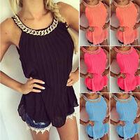 Sexy Women Sleeveless Chiffon Vest Tank Tops Ladies Summer Casual T-Shirt Blouse