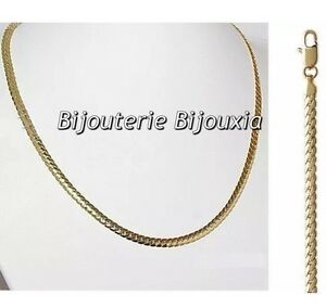 Chaine-collier-maille-anglaise-bombee-45-cm-Plaque-Or-18-Carats-Bijoux-femme