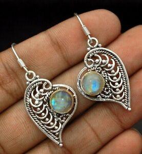 Natural-Rainbow-Moonstone-925-Sterling-Silver-Earrings-Jewelry-EZ11-1