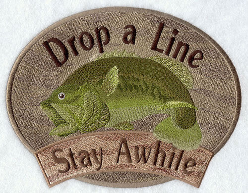 FISHING DROP A LINE STAY AWILE SET OF 2 BATH HAND TOWELS EMBROIDERED by laura