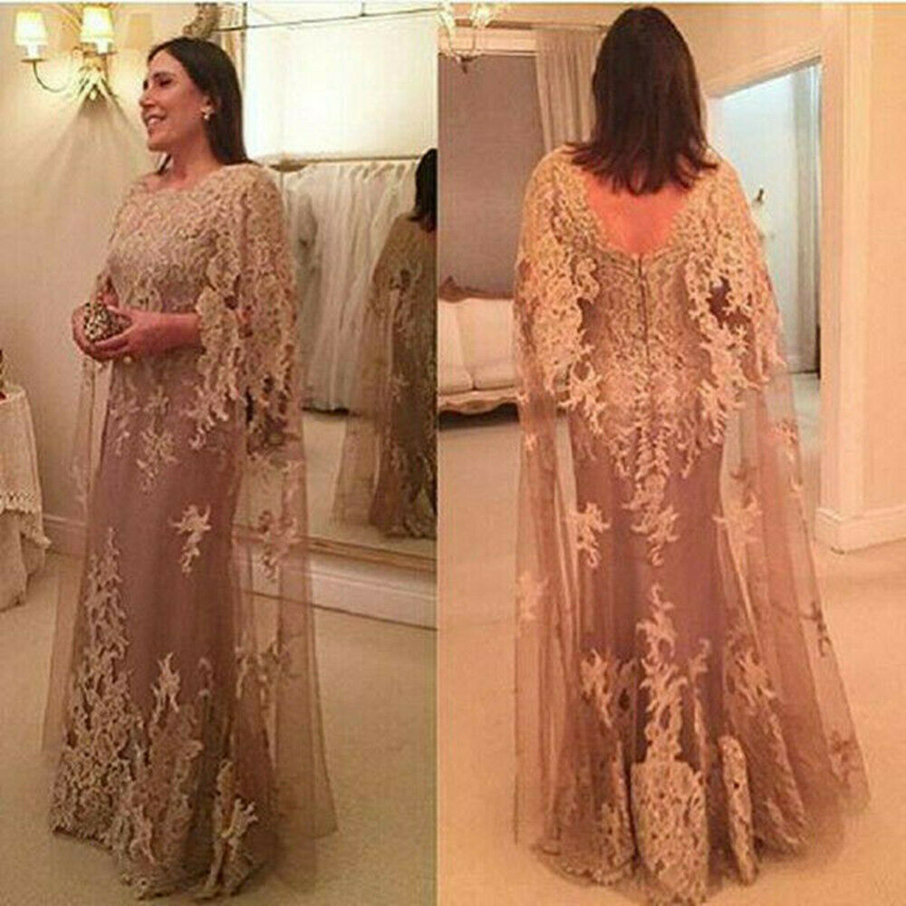Plus Size Mother Of The Bride Dress A-line Tulle Applique Lace Long Evening Gown