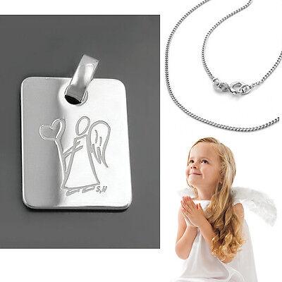 Kinder Schulweg Baby Taufe Engel Anhänger Echt Silber 925 Rosè Gold mit Kette