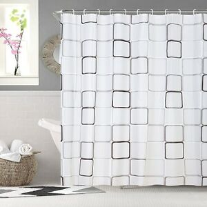 Image Is Loading Modern Shower Curtain With Ring Hooks Bathroom