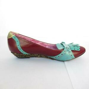 Irregular-Choice-shoes-red-flats-turquoise-punched-leather-size-3-5-UK-36-EUR