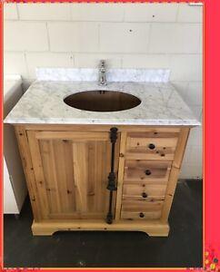 Bathroom Vanity Rustic Wooden Gaston 900 Wood With Marble Or Granite Top Ebay