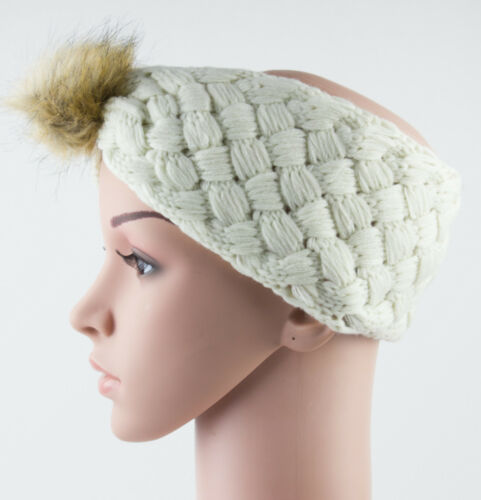 Thick Knit Headband with Faux Fur Pom Pom Knitted Hair Band Headwrap Ear Warmer
