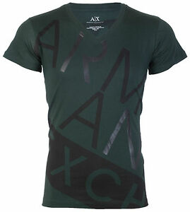 Armani-Exchange-BIAS-Mens-Designer-T-SHIRT-Premium-GREEN-BLACK-Slim-Fit-45-NWT