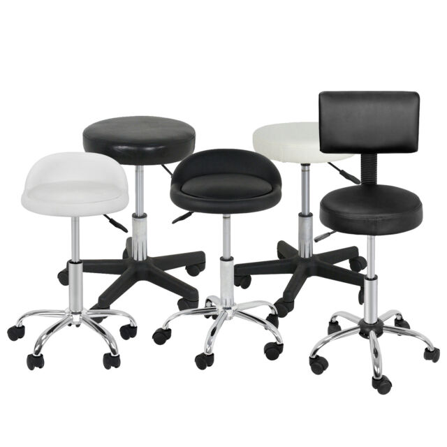 Adjustable Rolling Salon Stool White Fur Vanity Chair Desk Wheels Swivel  Spa Bar For Sale Online   EBay