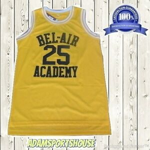 9222e621371f Details about Carlton Banks Fresh Prince  25 Jersey Throwback Stitched Bel  Air Academy Yellow