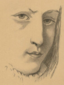Early-20th-Century-Charcoal-Drawing-Portrait-of-a-Young-Woman