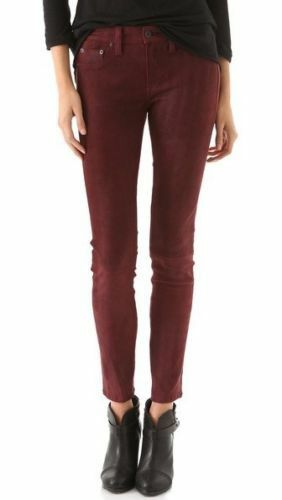 Rag & Bone suede leather leggings pants port wine skinny stretch size 26  995.00