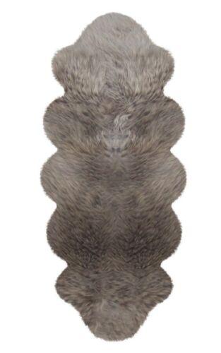 Lamb Fur 175 x 63 cm Taupe Bedside Rug Sheepskin Fluffy Soft Warm
