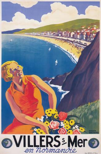 TX127 Vintage Villers Sur Mer Normandy Normandie Travel Poster A4