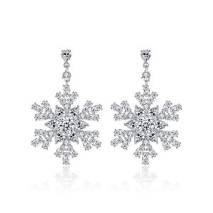 Lovely-Snowflake-Top-Quality-All-AAA-Cubic-Zirconia-CZ-Pierced-Dangle-Earrings