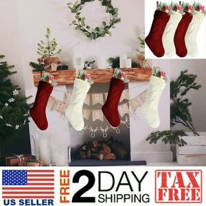 18 Unique Burgundy and Ivory White Knit Christmas Stockings Kunyida Pack 2
