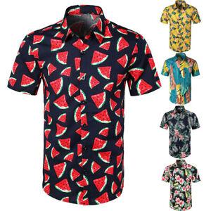 Men-Casual-Floral-Printed-Button-Down-Short-Sleeve-T-Shirt-Hawaiian-Tops-Blouse