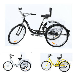 Shimano-7-Speed-Adult-26-034-3-Wheel-Tricycle-Trike-Bicycle-Bike-Cruise-w-Basket