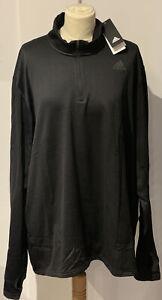 Adidas Men's 1/2 Zip Black T-Shirt ~ Size XXL ~ BNWT