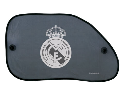 2x Car Window Rear Sunshade Screen Suction Cups 38cm x 65cm Official Real Madrid