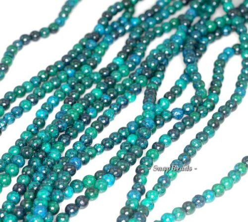 """4MM TURQUOISE CHRYSCOLLA GEMSTONE ROUND 4MM LOOSE BEADS 15.5/"""""""